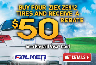 Receive a $50 Rebate on a Purchase of 4 ZIEX ZE912 Tires!