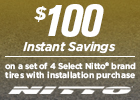 $100 Instant Savings on Select Nitto Tires!