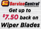 Get up to $7.50 Back on Service Central Wiper Blades