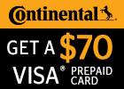 Continental - Get a $70 Visa Prepaid Card