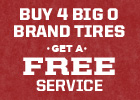Buy 4 Big O Brand Tires, Get a Free Conventional Oil Change!