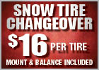Snow Tire Changeover - $16 Per Tire (Mount and Balance Included)