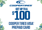 Get up to $100 Mail in Rebate on Select Cooper Tires!