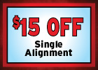 $15 Off Single Alignment