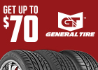 Get up to a $70 Visa prepaid card with purchase of 4 qualifying tires from General Tire
