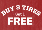 Buy 3 tires, get 1 free on a set of 4 select tires with paid installation purchase