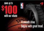 Save up to $100 on a set of Kumho Tires