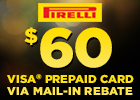 Save $60 on Pirelli Tires