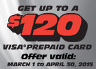 Shocks and Struts Offer - Get up to a $120 Visa® Prepaid Card!