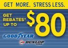 Get up to an $80 Mail-in Rebate on Goodyear Dunlop Tires!