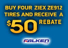 National BR Falken - $50 mail-in rebate on Ziex ZE912