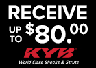 KYB Shocks & Struts - Up to $80 Rebate!