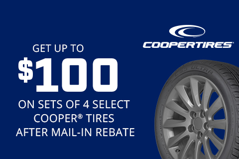 Cooper   Get up to $100 on sets of 4 select Cooper® tires!