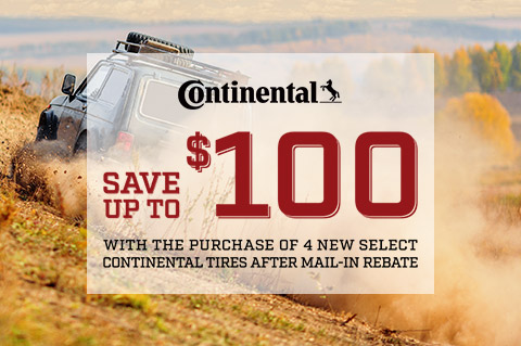 Save up to $100 on select Continental tires!