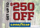 Get up to $250 Off Select Installed Sets of Four In-Stock Goodyear Tires with this Combined Offer